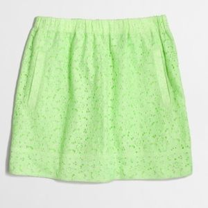 J. Crew Lime Lace Mini Skirt